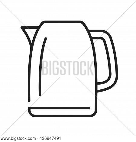 Electric Kettle Line Icon Monochrome Vector Illustration Household Appliance For Warming Hot Water