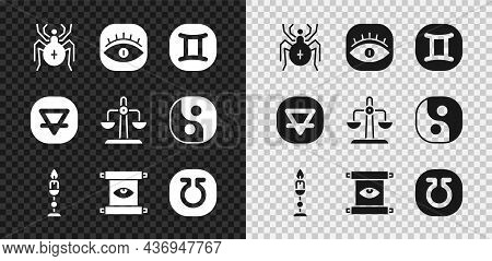 Set Spider, Masons, Gemini Zodiac, Burning Candle, Ancient Magic Scroll, Life, Earth Element And Lib