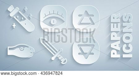 Set Medieval Sword, Air Element, Snake, Earth, Masons And Bottle With Potion Icon. Vector