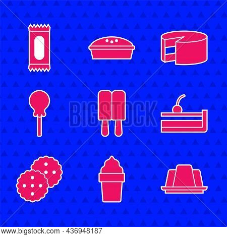 Set Ice Cream, In Waffle Cone, Jelly Cake, Cherry Cheesecake, Cookie Or Biscuit, Lollipop, Cake And