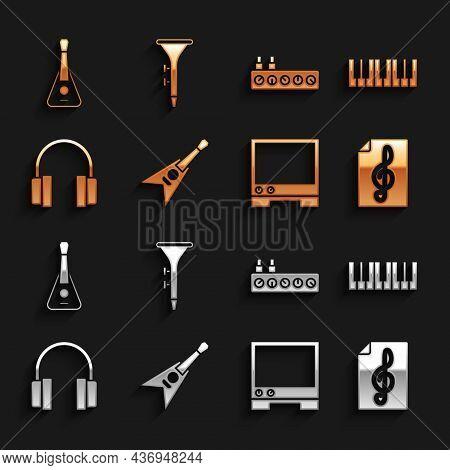 Set Electric Bass Guitar, Music Synthesizer, Treble Clef, Voice Assistant, Headphones, Sound Mixer C