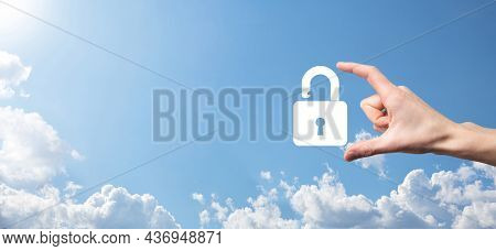 Male Hand Holding A Lock Padlock Icon.cyber Security Network. Internet Technology Networking.protect