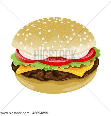 Illustration Of An Appetizing Hamburger Or Fast Food On A White Background.