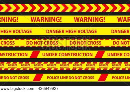 Danger, Caution And Warning Seamless Tapes. Red And Yellow Police Stripe Border. Crime Vector Illust