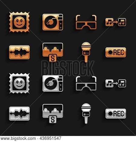 Set Music Wave Equalizer, Note, Tone, Record Button, Microphone, Glasses, Lsd Acid Mark And Vinyl Pl