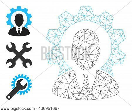 Web Mesh Industry Boss Vector Icon, And Source Icons. Flat 2d Carcass Created From Industry Boss Pic