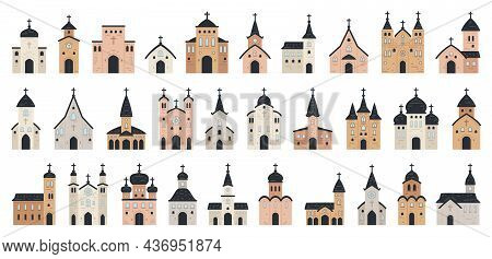 Big Set Of Church Icon. Flat Collection Of Church Icons For Web Design. Vector Illustration Religion