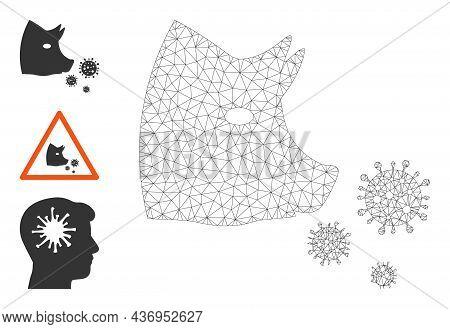 Web Carcass Pork Flu Infection Vector Icon, And Bonus Icons. Flat 2d Carcass Created From Pork Flu I