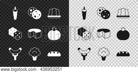Set Hot Chili Pepper, Cookie With Chocolate, Jelly Cake, Sausage On The Fork, Broccoli, Bread Loaf,