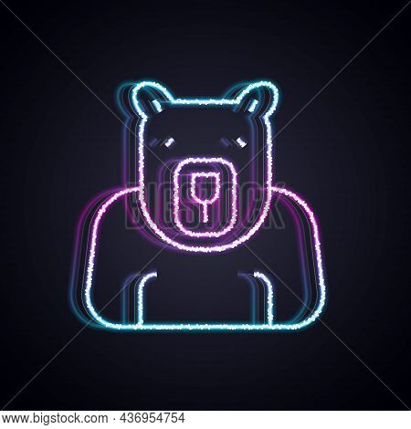 Glowing Neon Line Polar Bear Head Icon Isolated On Black Background. Vector