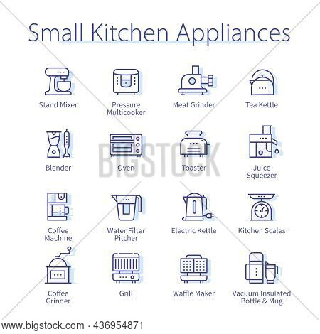 Small Kitchen Appliances Set. Grill, Toaster, Oven