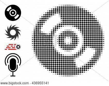 Pixelated Halftone Cd Disc Icon, And Additional Icons. Vector Halftone Composition Of Cd Disc Icon F