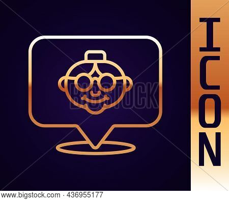 Gold Line Grandmother Icon Isolated On Black Background. Vector