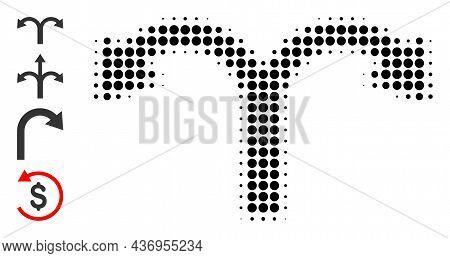 Dot Halftone Bifurcation Back Arrow Icon, And Source Icons. Vector Halftone Pattern Of Bifurcation B