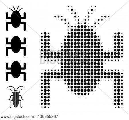 Dotted Halftone Bug Tick Icon, And Additional Icons. Vector Halftone Composition Of Bug Tick Icon De