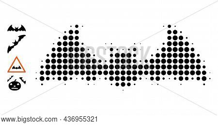 Pixelated Halftone Bat Mouse Icon, And Other Icons. Vector Halftone Mosaic Of Bat Mouse Icon Formed