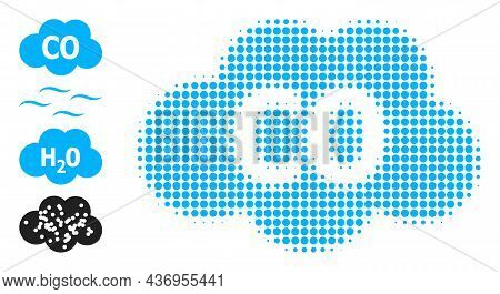 Pixelated Halftone Carbon Monoxide Icon, And Other Icons. Vector Halftone Composition Of Carbon Mono