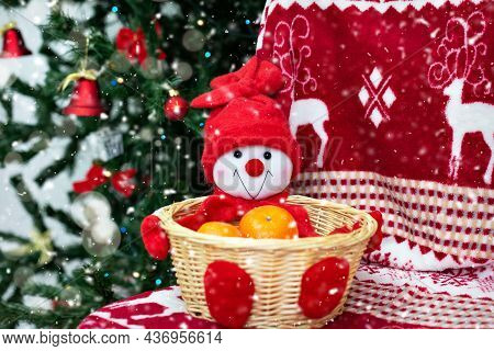 Decorative Basket For Fruit Snowman With Tangerines. Funny And Cute Christmas And New Year Decor. On