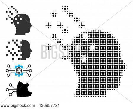 Dot Halftone Digital Brain Compilation Icon, And Bonus Icons. Vector Halftone Mosaic Of Digital Brai