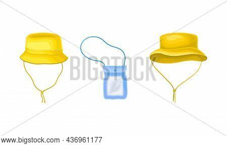Waterproof Yellow Headdress And Plastic Bag On Strap Vector Set