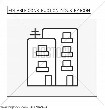 Residential Building Line Icon. Buildings For Private Occupancy. Apartment Building. Construction In