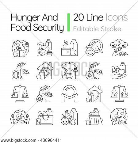 Hunger And Food Security Linear Icons Set. Poverty And Starvation. Food Justice Volunteer Organizati