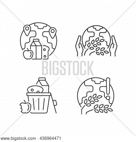 World Hunger Issues Linear Icons Set. International Allocation. Starvation Relief Organizations. Cus