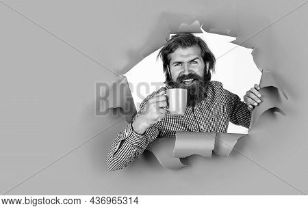 Male Smiling While Drinking Tea From Cup, Thirst