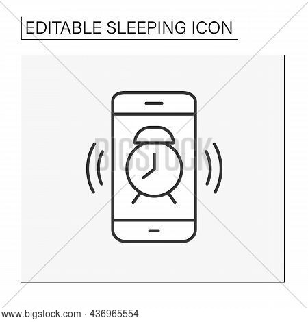 Alarm Clock Line Icon. Waking Up. Alarm Clock On Mobile Phone. Sleeping Concept. Isolated Vector Ill