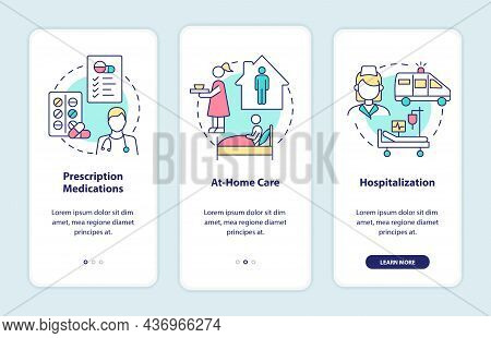 Pneumonia Treatment Onboarding Mobile App Page Screen. Medications And Rest Walkthrough 3 Steps Grap