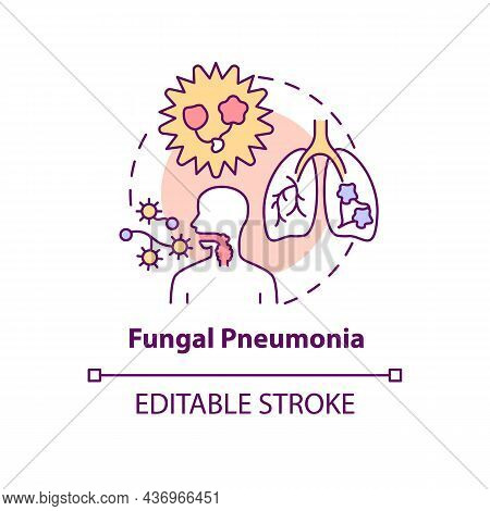 Fungal Pneumonia Concept Icon. Pulmonary Inflammation Abstract Idea Thin Line Illustration. Infectio