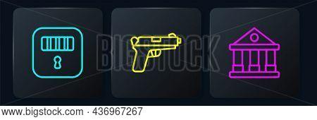 Set Line Prison Cell Door, Courthouse Building And Pistol Gun. Black Square Button. Vector