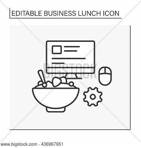 Snack Line Icon. Lunch At Workplace. Tasty Meal Near Computer Screen. Business Lunch Concept. Isolat
