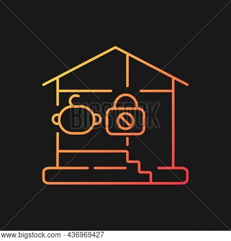 Lock Basement Door Gradient Vector Icon For Dark Theme. Child Safety. Baby Falling, Trauma Preventio