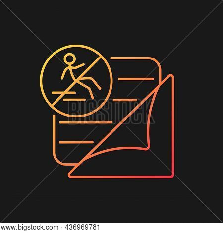 Rugs With Non Slip Pads Gradient Vector Icon For Dark Theme. Child Safety. Childproof Carpet. Baby S