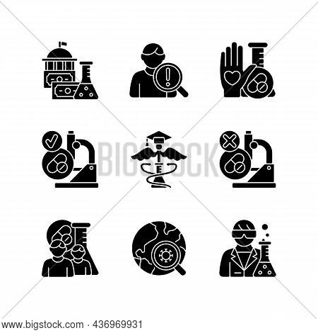 Clinical Study Black Glyph Icons Set On White Space. Evaluating New Drugs And Treatments. Government