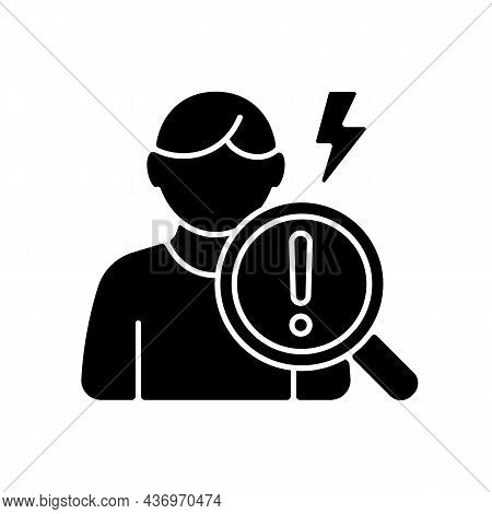 Observational Studies Black Glyph Icon. Observing Participants Without Intervention. Evaluating Drug