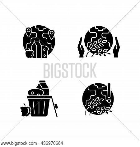 World Hunger Issues Black Glyph Icons Set On White Space. Global Harvest Wilt. International Allocat