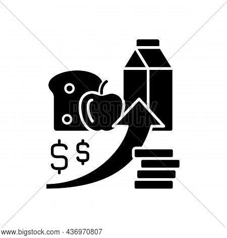 Increasing Food Prices Black Glyph Icon. Price Inflation. Economical Issue. Grocery Shopping. Food I