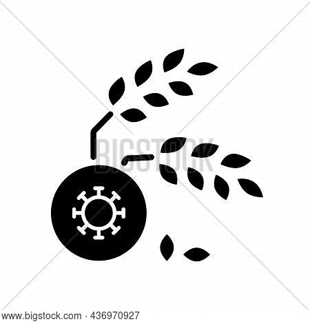 Agricultural Disease Black Glyph Icon. Harvest Loss Leads To Starvation. Crop Illnesses And Pests. L