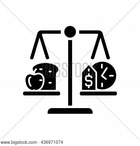 Food Stability Black Glyph Icon. Ability To Have Food Access Any Time. Inflation And Poverty Decreas