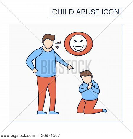 Constant Belittling Color Icon. Shaming, Humiliating.bullying.aggressive Actions Against Kid. Seriou