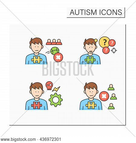 Autism Spectrum Disorder Color Icons Set.not Engaging In Play With Peers, Self-abusive Behaviors, So