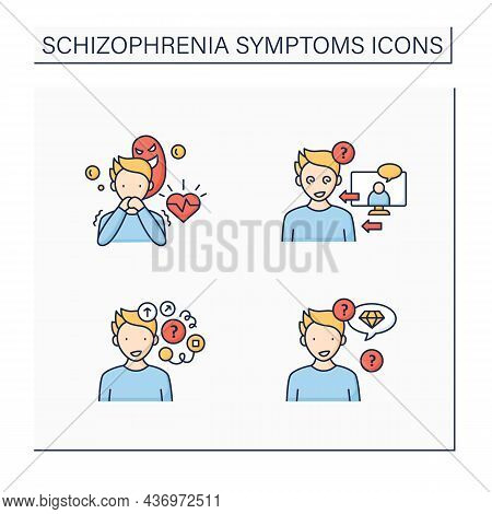 Schizophrenia Symptoms Color Icons Set. Reference, Persecution Delusions, Loose Associations, Neolog
