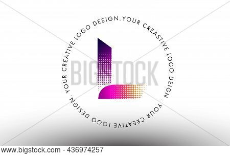 L Dots Letter Logo. Creative Letter Design Vector Icon Illustration With Dots.