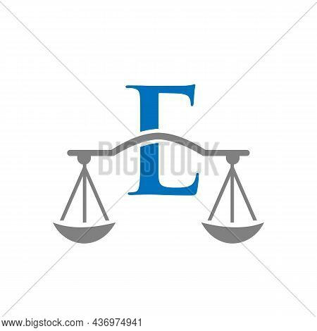 Law Firm Logo Design On Letter E. Lawyer And Justice, Law Attorney, Legal, Lawyer Service, Law Offic
