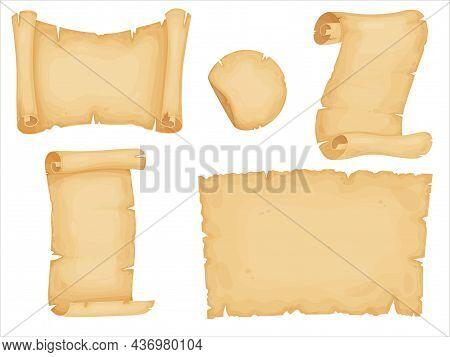 Parchment Set. Old Paper Scrolls. Vintage Letter, Certificate, Treasure Map Or Historical Document.
