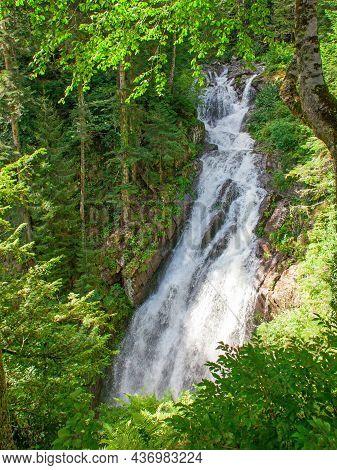 Mountain Waterfall In Canyon At Daylight. Abkhazia, Russia
