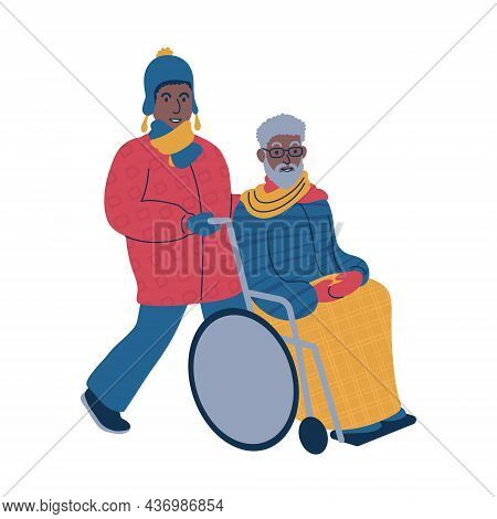 .taking A Person In A Wheelchair For A Stroll During The Winter Time. Isolated Vector Illustration.