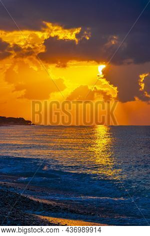 The Most Beautiful Colorful Golden Sunset Ialysos Beach Rhodes Greece.
